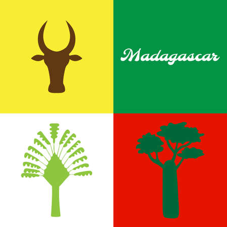 Symbol of Madagascar: baobab tree, zebu, ravenala. Vector illustration. Illustration