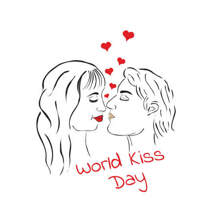 World kiss day. Kissing loving couple. A man and a woman. Illustration