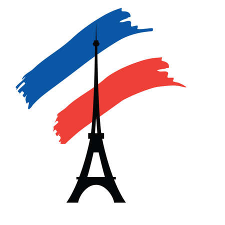 tower tall: Eiffel tower silhouette on the background of the flag of France. Vector illustration