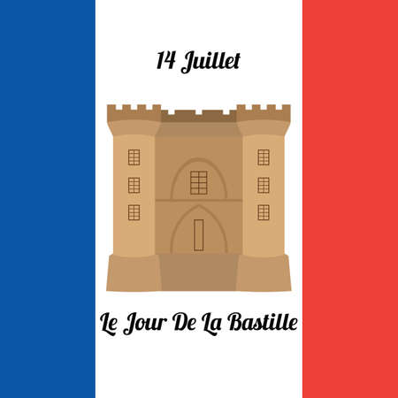 fourteenth: Greeting card with the image of the fortress and the inscription in French: July 14, Bastille Day and the flag of France. Vector illustration Illustration