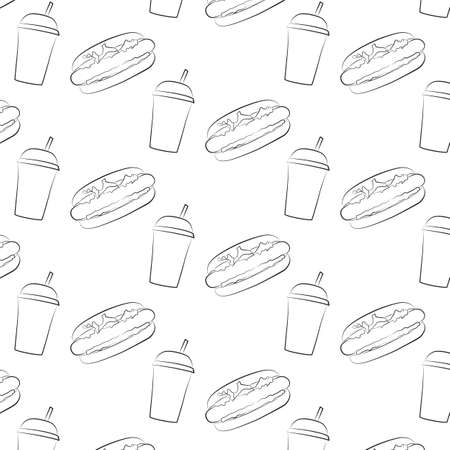 dog: Seamless pattern of hot dog and a Cup with a straw.