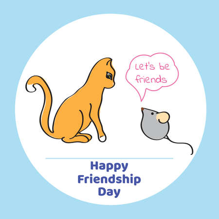 Greeting card for Friendship Day. Vector illustration of cat and mouse in a cartoon style. Ilustração