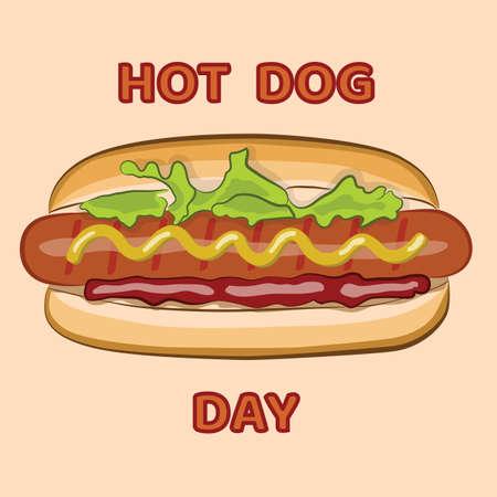 National day hot dog. Vector illustration.