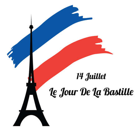 Eiffel tower silhouette on the background of the flag of France. The Bastille day. Vector illustration