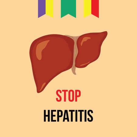 hepatitis prevention: World hepatitis day. Vector illustration. Liver, ribbon red-yellow, jade, violet-yellow, and the inscription Stop hepatitis Illustration