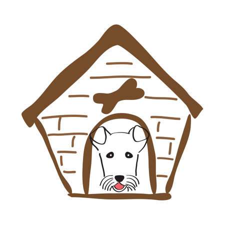 doghouse: Dog house and dog in it. Hand-drawn illustration. Sketch style