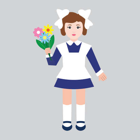 first grader: First grader girl with flowers in retro school uniform.  Flat style, vector illustration