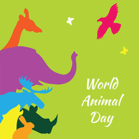 World animal day. Vector illustration of colorful animal silhouettes on a green background.
