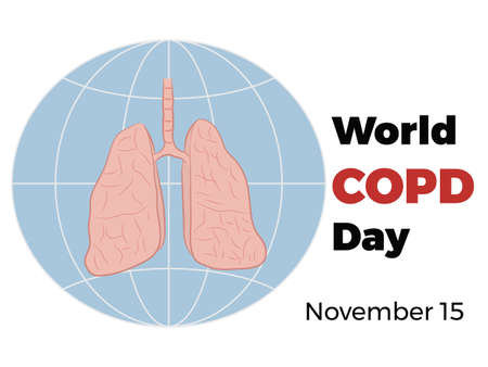 World COPD day. World Chronic Obstructive Pulmonary Disease Day. Poster of the human lungs.