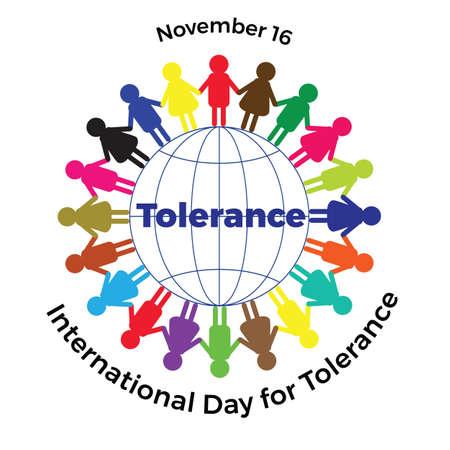 Día internacional de tolerancia. Ilustración con hombres de colores en el globo Foto de archivo - 89520533