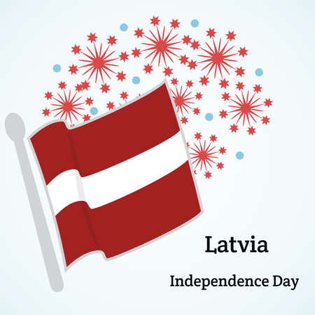 Latvia. Independence day. Vector illustration with flag and fireworks.