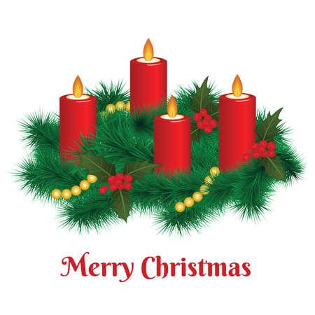 Wieniec adwentowy z płonącymi świecami. Wesołych Świąt