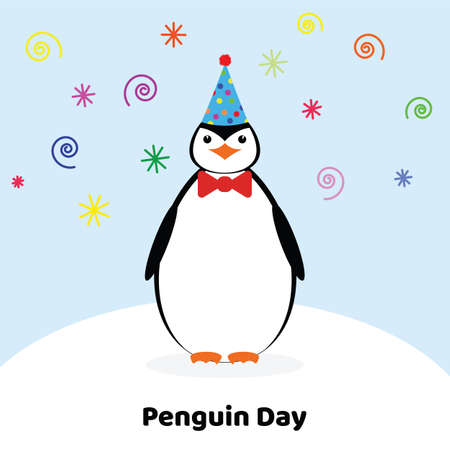 World penguin day. Penguin in a festive hat.