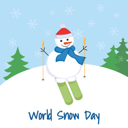 World Snow Day. Snowman on skis on a background of a snowdrift and trees.