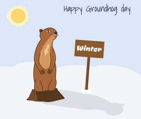 Happy Groundhog day vector illustration. Getting out of the hole Groundhog. Sunny day, winter, shadow of a Groundhog in the snow Illustration