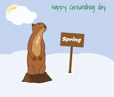 Happy Groundhog day vector illustration. Getting out of the hole Groundhog. Cloudy day, spring, sun behind a cloud