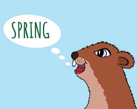 Happy Groundhog day vector illustration. The Groundhog announces spring. Head marmot closeup