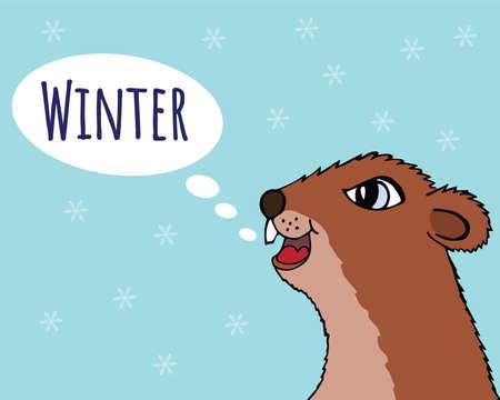 Happy Groundhog day vector illustration. The Groundhog announces winter. Head marmot closeup Illustration