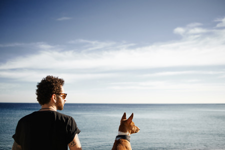 lose up: Сlose up portrait man in sunglasses sitting in beach in spring or summer with friend's dog breed Basenji and looking into the distance enjoying deep blue sea in Barcelona, Spain. Beautiful young multiracial Caucasian man with tattoos and his red dog.