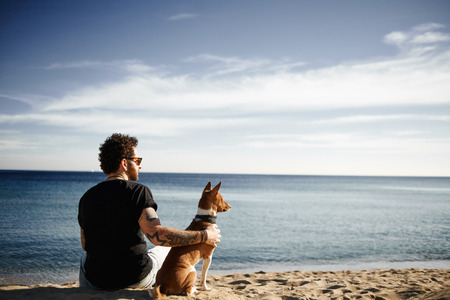 Caucasian man in sunglasses sitting in beach with friend?s dog breed Basenji put hand on his back and looking into the distance enjoying deep blue sea. Boy with tattoos in black t-shirt and jeans relaxing under blue sky. Mixed race Asian Caucasian man in  Stock Photo