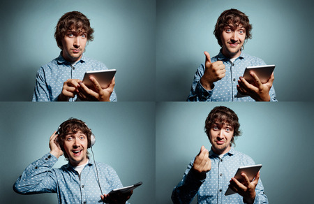 insensitive: Group collage of portrait handsome young smiling hipsters with tablet pc at grey background. Positive human emotions, facial expression, feelings. Stock Photo