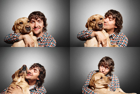 hugs and kisses: Group collage of portrait handsome young hipster man, kissing and hugs his good friend dog isolated black grey background. Positive human emotions, facial expression, feelings.
