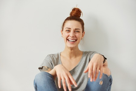 disbelief: Woman laughing. Closeup portrait woman smiling with perfect smile and white teeth looking laugh loudly in full disbelief isolated background. Positive human emotion facial expression body language.