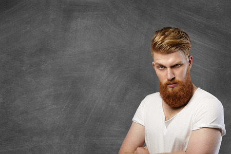 Headshot Of Hipster Fashionable Man With Long Red Beard And Stylish