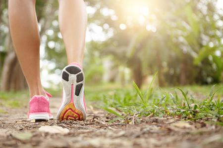 リアは、屋外ジョギング中ピンクのスニーカーを着て女性ランナーのビューをトリミングされています。森林や晴れた日の公園でトレーニングや物