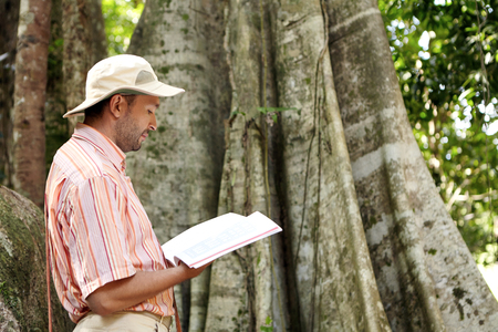 Side view of Caucasian male botanist in panama hat and striped shirt exploring species at field work in tropical forest, standing in front of big plant, reading information of emergent tree in manual