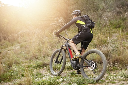 Back view of male rider in protective gear riding e-bike in countryside, getting over obstacles on his way while cycling among trees, exercising his freeride skills, sun shining brightly in background