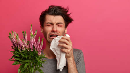 Dejected man suffers from despair, has asthma and allergy to plants, tired of sneezing, holds tissue, has red swelling eyes, isolated on pink wall. Frustrated guy cannot cure allergic sickness Stok Fotoğraf