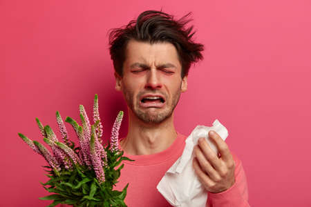 Infected man blows nose in tissue, has allergy symptoms during spring time, cannot breath well, sneezes constantly, holds plant trigger, cries as feels tired of treatment. Immunotherapy concept