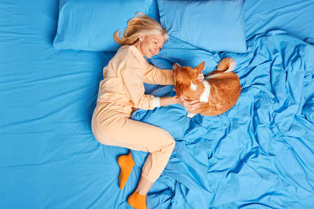 Overhead shot of glad old woman plays with animal best friend in bed enjoys spending time with dog dressed in nightwear expresses love. Beautiful senior female awakes in morning after healthy sleep