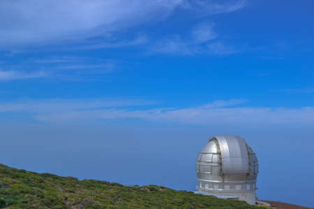 Astronomical telescope at the Roque de los Muchachos. One of the best places to study astronomy is on La Palma. Stock Photo