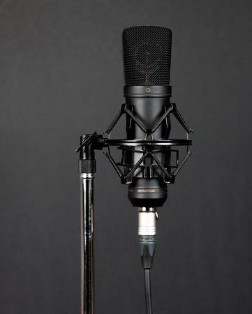 condenser: Black condenser microphone on grey background
