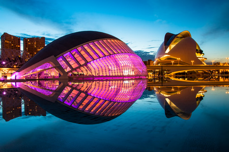 sciences: Valencia, Spain - October 23, 2015: HDR night shot of the Hemisferic in the City of Arts and Sciences, on October 23,2015, in Valencia, Spain Editorial