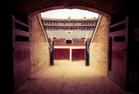 Valencia, Spain - October 24, 2015: Entrance of the Plaza del Toros, a bullfighting arena, that holds 10,500 people, on October 24,2015, in Valencia, Spain