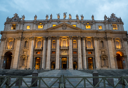 st  peter's basilica pope: Night shot of the front of Saint Peters Basilica in Vatican city