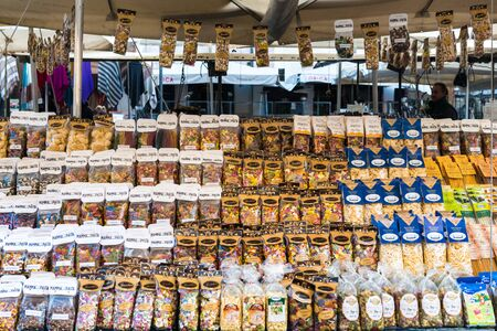Rome, Italy - February 3, 2017: Large selection of pasta on Campo de Fiori market, on February 3, 2017 in Rome, Italy