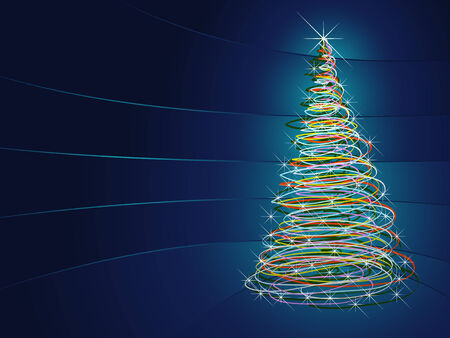 Blue abstract background with christmas tree