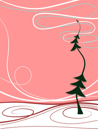 Red abstract winter background, vector Vector