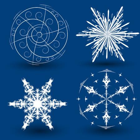 Set of 4 unique beautiful different snowflakes Vector