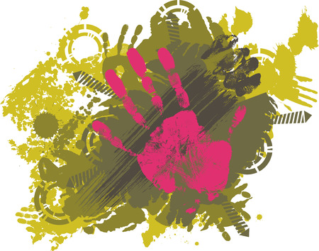 imprint hands on grungy splash Vector
