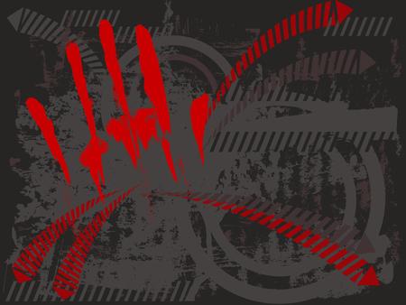 Handprint hands on grungy splash Vector