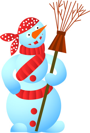 Cool snowman - pirate with a whisk Stock Vector - 3767468