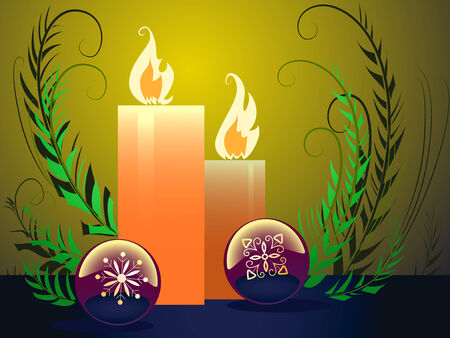 Christmas composition candle and balls Vector