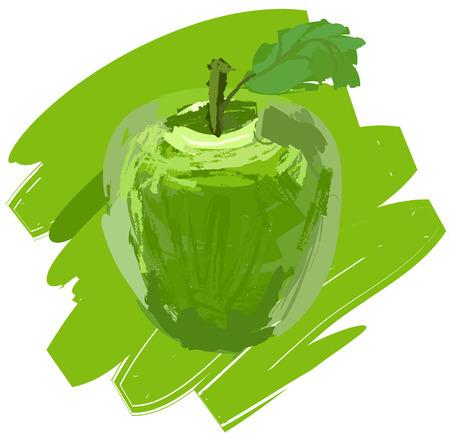 ecosystems: Art. Vector illustration of green apple