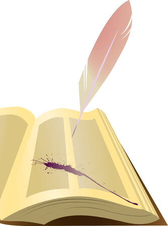 Open an old book with a pen