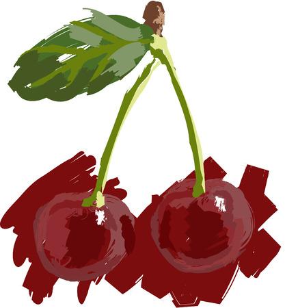 Art. Vector illustration of two cherry